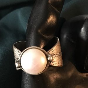 Silpada sterling silver pearl ring size 9